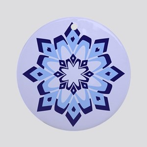 Snowflake Blue Ornament (Round)