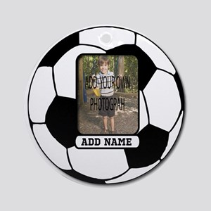 Photo and Name personalized soccer ball Ornament (