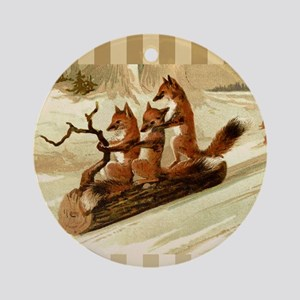 Winter Foxes Sledding Round Ornament