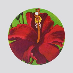 Vintage Red Hibiscus Round Ornament