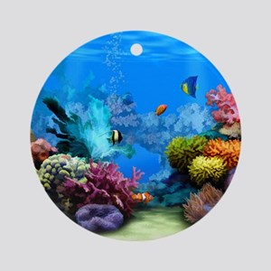 Tropical Fish Aquarium with Bright  Round Ornament