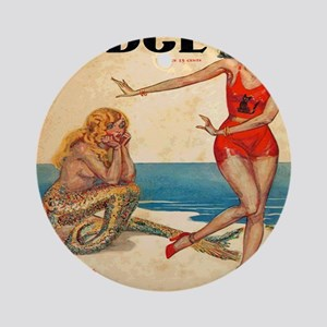 Vintage Mermaid and Flapper Round Ornament