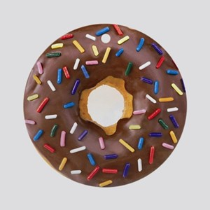 Chocolate Donut and Rainbow Sprinkl Round Ornament