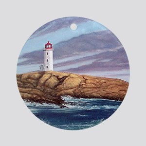 Peggys Cove Lighthouse tile coaster Round Ornament
