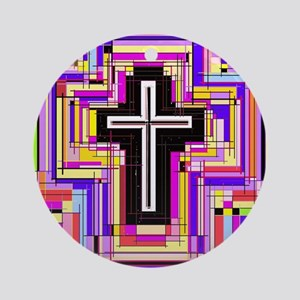 The Stained Glass Cross. Round Ornament