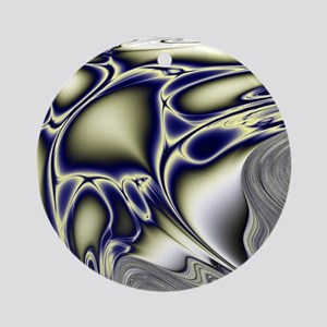 Silver Blue Sting Ray Fractal Round Ornament