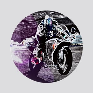grunge cool motorcycle racer Round Ornament