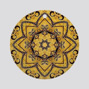 rustic lotus flower mandala  Round Ornament