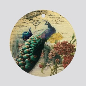 french botanical vintage peacock Round Ornament
