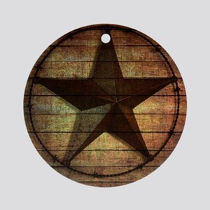 barn wood texas star Round Ornament