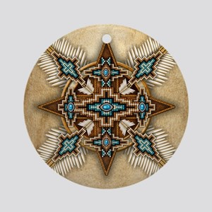 Native American Style Mandala 26 Round Ornament