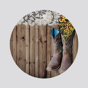 cowboy boots barnwood country Round Ornament