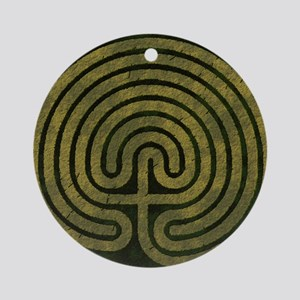 Labyrinth stone grass Round Ornament