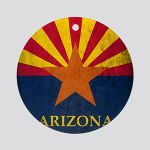 Grunge Arizona Flag Round Ornament