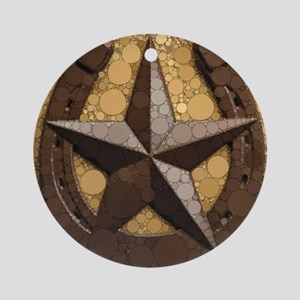 western country horseshoe texas sta Round Ornament