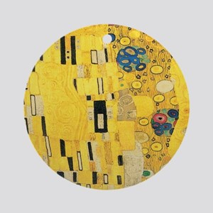 Klimt the Kiss Pattern Detail Round Ornament