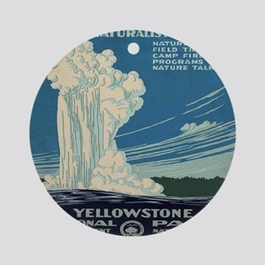 yellowstone-national-park_poster_re Round Ornament