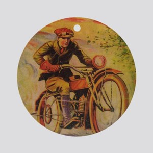 Tom Swift Motorcycle Round Ornament