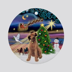 Xmas Magic & Irish Terrier Ornament (Round)