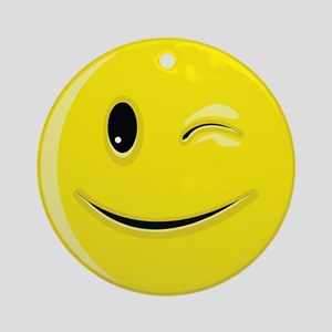 Smiley Face - Wink Round Ornament