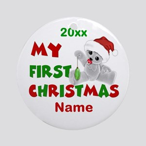 1st Christmas Bear Personalized Ornament (Round)