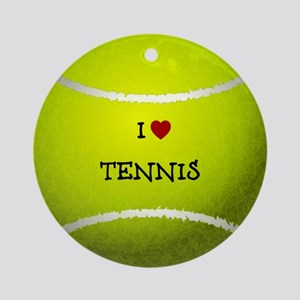 I Love Tennis on a Yellow Tennis Ba Round Ornament