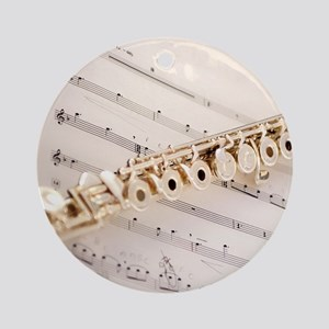 Flute and Music Round Ornament