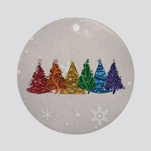 Rainbow Christmas Trees Ornament (Round)