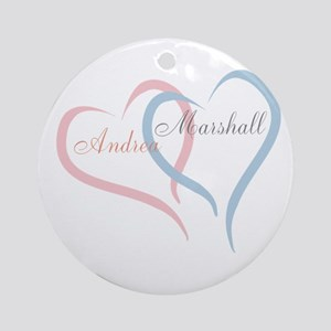 Twin Hearts to Personalize Round Ornament