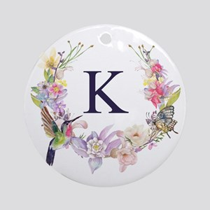 Hummingbird Floral Wreath Monogram Round Ornament