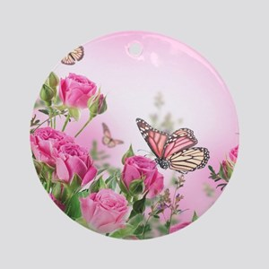 Butterfly Flowers Round Ornament