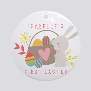 Personalized Babys First Easter Round Ornament