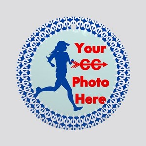 Cross Country Runner Photo Ornament (Round)