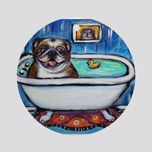 English Bulldog Bathtime Ornament (Round)