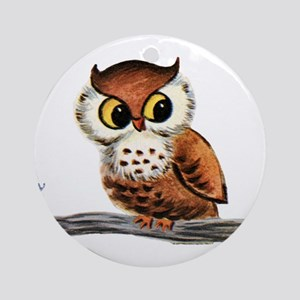 Vintage Owl Round Ornament