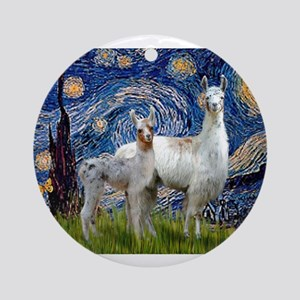Starry Night Llama Duo Ornament (Round)