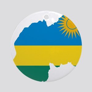 Rwanda Flag and Map Ornament (Round)