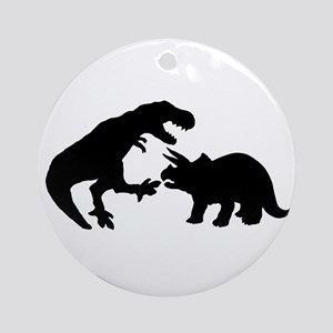 Tyrannosaur and Triceratops b Round Ornament