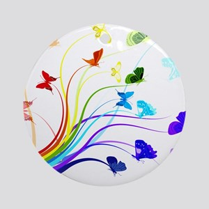 Butterflies and Rainbows Round Ornament