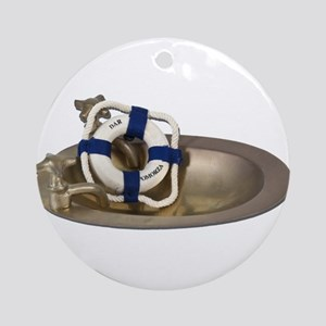 Life Preserver Brass Sink Ornament (Round)