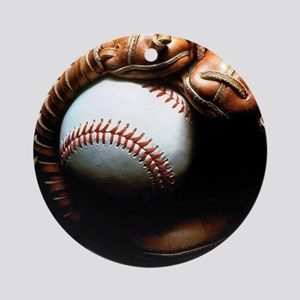 Baseball Ball And Mitt Round Ornament