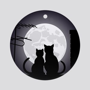 Two cats one moon Round Ornament