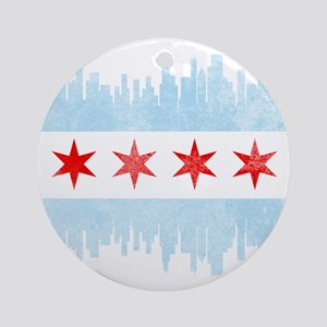 Chicago Skyline Flag Round Ornament