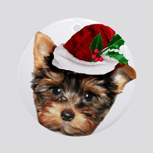Christmas Yorkshire Terrier dog Ornament (Round)
