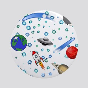 Kids Galaxy Universe Illustrations Round Ornament