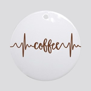 COFFEE HEARTBEAT Round Ornament