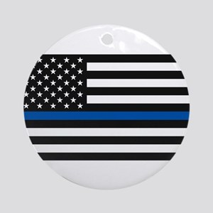 Thin Blue Line Decal - USA Flag - R Round Ornament