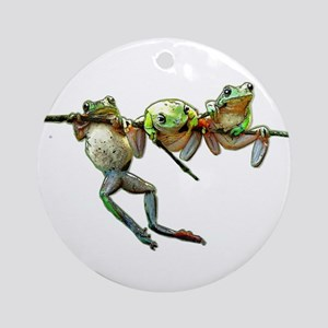 Hang in There Froggies Round Ornament