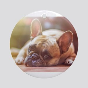 french bulldog laying Round Ornament