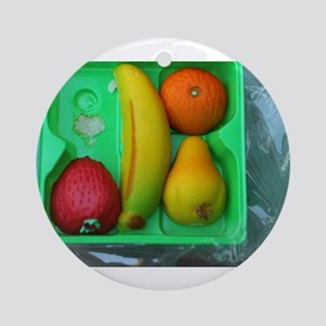 marzipan fruit in plastic box Round Ornament
